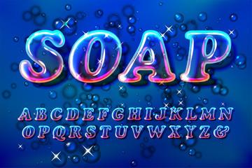 Color soap or glass bubble font