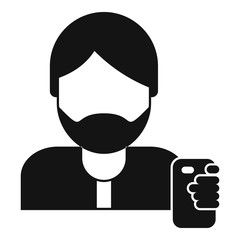 Hipster man take selfie icon. Simple illustration of hipster man take selfie vector icon for web design isolated on white background