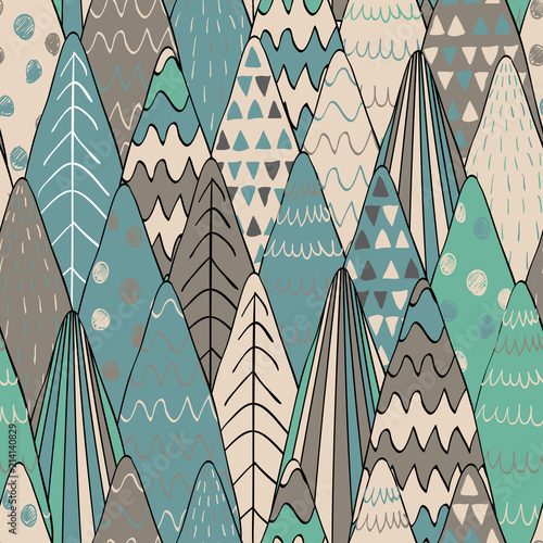 Forest seamless pattern background  Scandinavian style