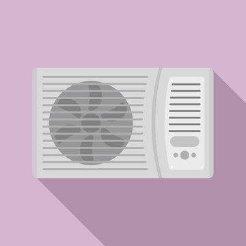 Outdoor air conditioner fan icon. Flat illustration of outdoor air conditioner fan vector icon for web design