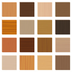 Wood samples. Assorted parquetry types set. Wooden plates with different textures from various trees to choose - 3d decor models - vector on white background.