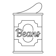 Beans tin can icon. Outline beans tin can vector icon for web design isolated on white background