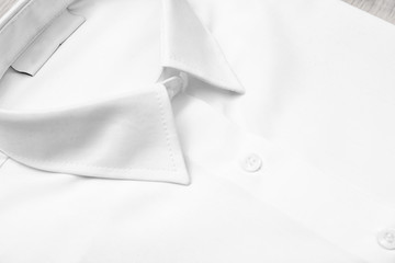 White shirt, closeup view. School uniform