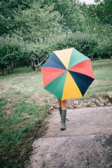 Campagne, parapluie et bottes