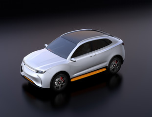 Silver electric vehicle on black background. 3D rendering image.