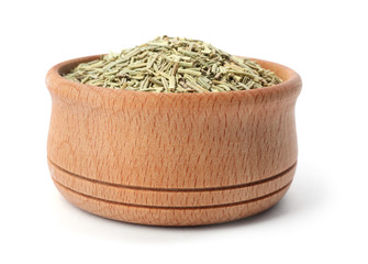 Wooden bowl with rosemary on white background. Different spices