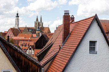 Rothenburg Ob der Tauber, view of the roofs of one of the oldest cities in Germany.