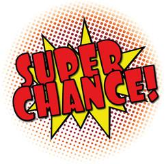 super chance comic explosion retro design deal tag