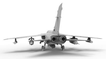 Military fighter aircraft. Three-dimensional raster illustration in the form of a completely white model. 3d rendering