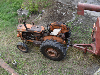 view old tractor from above
