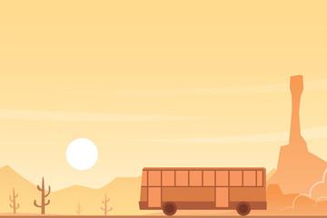 Bus in a Desert Landscape Scene
