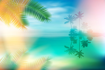 Summer sea with island and palm trees and palm leaves. EPS10 vector.