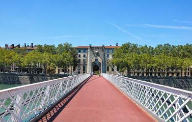 Lyon, France, Old Passerelle du College bridge over Rhone river, Europe