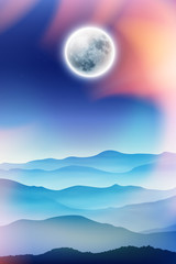 Summer background with fullmoon and mountains in the fog. EPS10 vector.