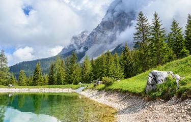 Ehrwalder Almsee - beautiful mountain lake in the Alps, Tyrol, Austria