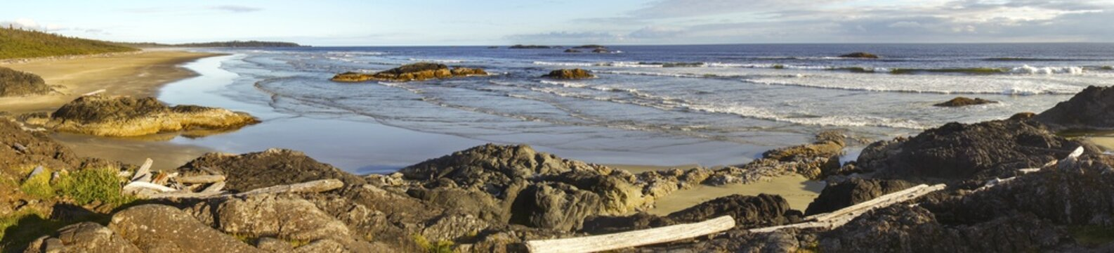 Long Beach Wide Panoramic Landscape in Pacific Rim National Park Reserve on Vancouver Island, British Columbia Canada