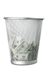 Waste Basket with Banknotes