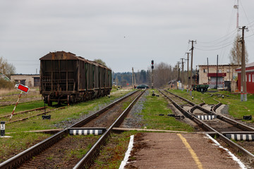 Railway station. Rails and freight cars