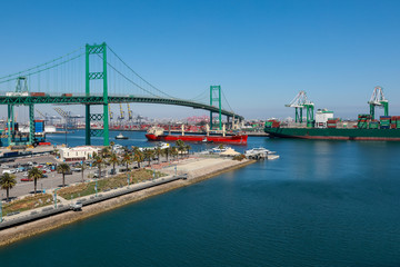 Vincent Thomas Bridge in Los Angeles Harbor