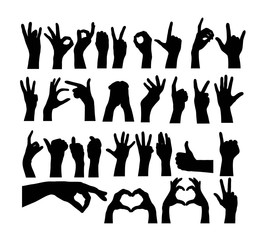 Various Motions and Finger Marks Silhouettes, art vector design