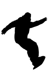Snowboarder descents the slope silhouette vector