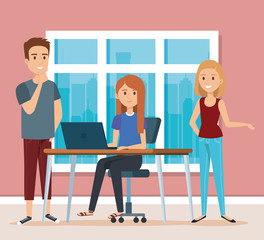 young people in the workplace scene vector illustration design