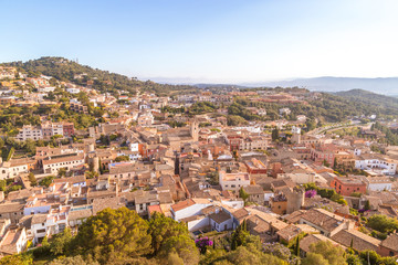 aerial view of the city of Begur in Spain, a sunny day