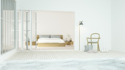 The interior minimal hotel bedroom space swimming pool 3d rendering