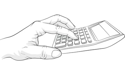 hand holding  calculator vector