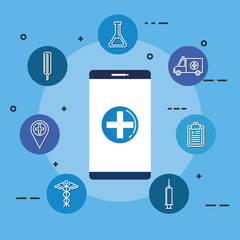 smartphone with telemedicine icons vector illustration design