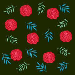 beautiful roses and leafs decorative pattern vector illustration design