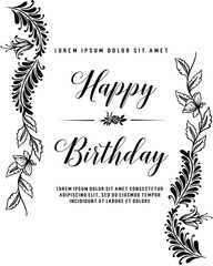 Lettering Happy Birthday Hand-drawn card with flower