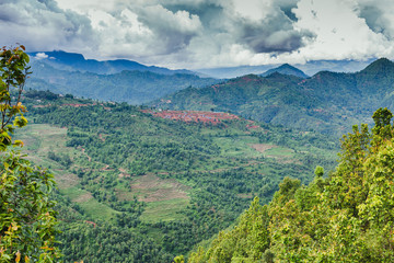 Arieal View of Beautiful Nepali Village sorrounded by the Green Forest,Mountain Village,Gorkha Nepal