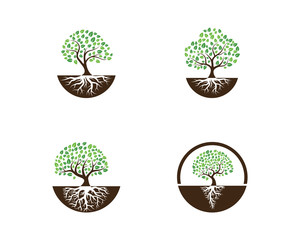 Logos of green Tree leaf