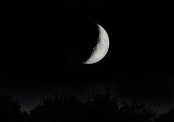crescent moon on dark sky in Minnesota USA