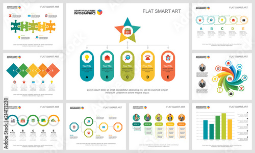 colorful management or analysis concept infographic charts set