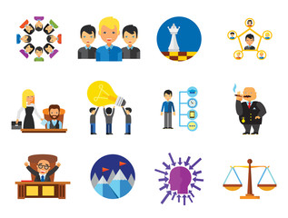 Business Icon Set. Team Structure Common Idea Director Executive Manager Rich Person Team Time Management Challenge Boss Scales Strategic Management Vision Team Leader