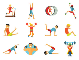 Exercising icons set. Vector icons of running man, rock climber, bodybuilder and other sportsmen