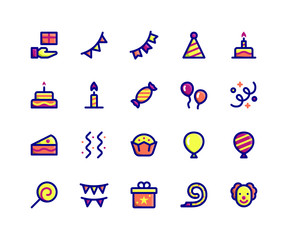 Simple Set of Camping Related Vector Filled Line Icons. Contains such Icons as gift, bunting, party, birthday, decoration and More. pixel perfect vector icons based on 32px grid.