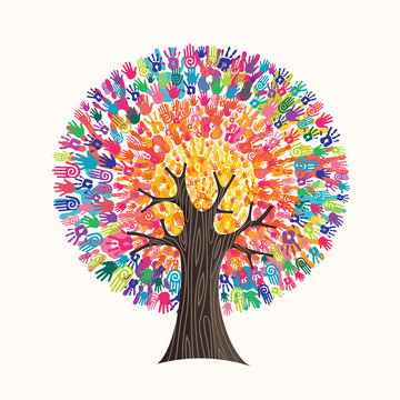 Colorful hand print tree concept for social help