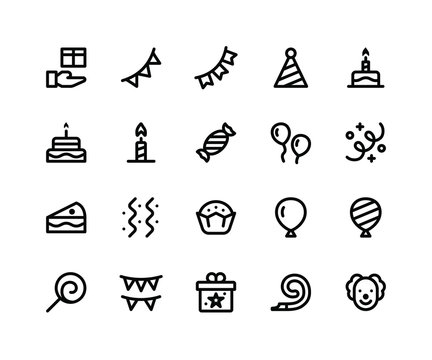 Simple Set of Camping Related Vector Line Icons. Contains such Icons as gift, bunting, party, birthday, decoration and More. pixel perfect vector icons based on 32px grid editable strokes.