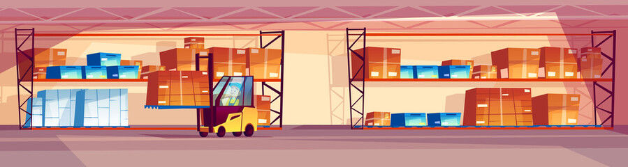 Warehouse vector illustration of logistics transport and industrial goods storage room. Cartoon background of parcel box on shelf and man driving forklift loader truck