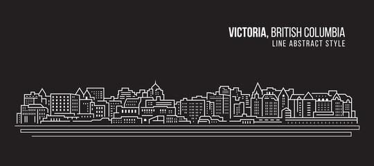 Cityscape Building Line art Vector Illustration design - Victoria city , British Columbia Wall mural