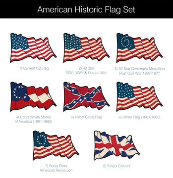 American Historic Waving Flag Set