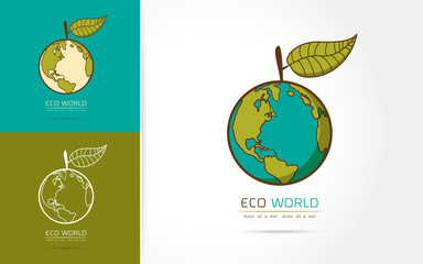 Planet and eco symbol vector illustration