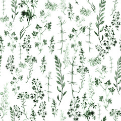 Seamless watercolor background with a floral pattern. grass and green plant flowers. Illustration is made of hand-made in clipart graphics colors. Use for design, textiles, paper and other