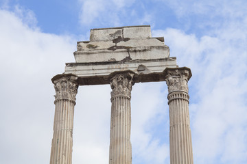 old marble ruins of columns in Rome city, Italy