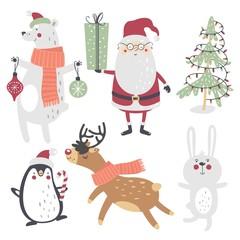 Winter set, hand drawn style. Santa Claus, bear, penguin, deer, bunny and Christmas tree. Vector illustration.