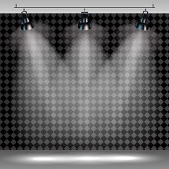 Spotlights realistic transparent background for show contest or interview.