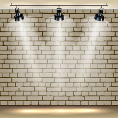 Spotlights realistic brick background for show contest or interview. Vector illustration